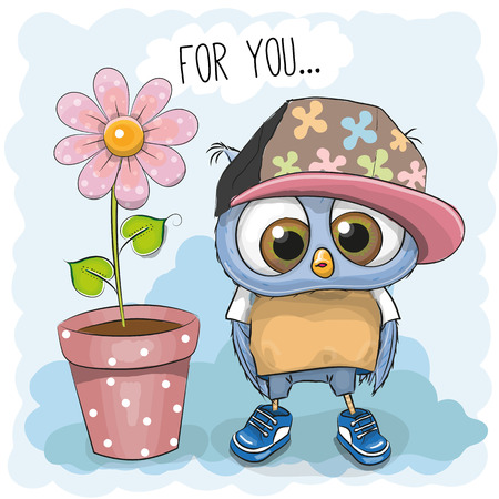 Illustration for Greeting card Cute Cartoon Owl with flower - Royalty Free Image