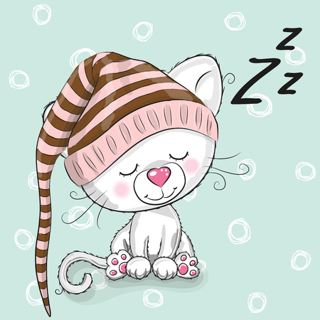Illustration for Sleeping cute Kitten in a hood on a white background - Royalty Free Image