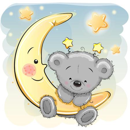 Illustration pour Cute Cartoon Teddy Bear on the moon - image libre de droit