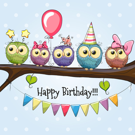 Ilustración de Five Owls on a brunch with balloon and bonnets - Imagen libre de derechos