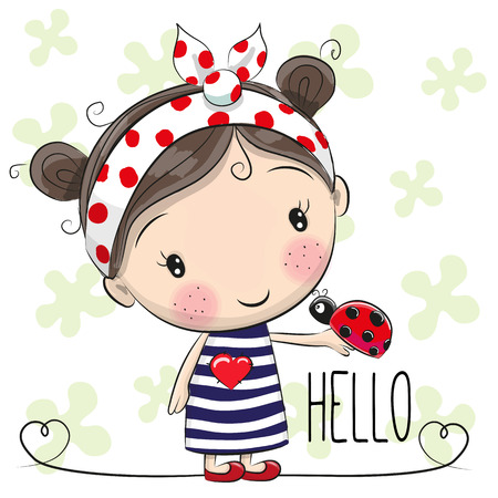 Illustration pour Cute Cartoon Girl with a bow and ladybug - image libre de droit