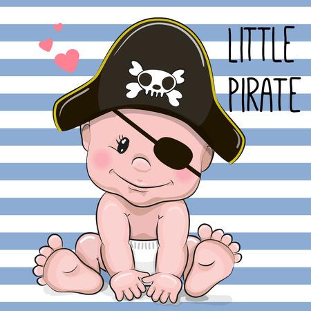 Foto de Cute Cartoon Baby boy in a Pirate hat - Imagen libre de derechos