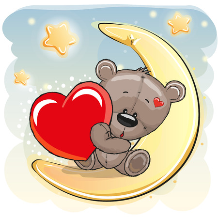 Photo for Cute Teddy Bear with heart on the moon - Royalty Free Image