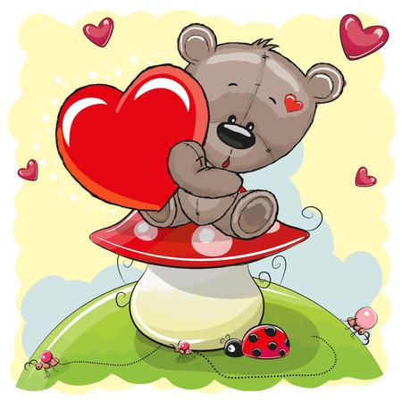 Ilustración de Cute Teddy Bear with heart on the mushroom - Imagen libre de derechos
