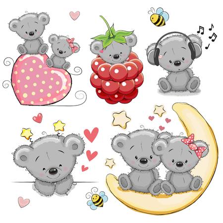 Foto de Set of Cute Cartoon Teddy Bear on a white background - Imagen libre de derechos