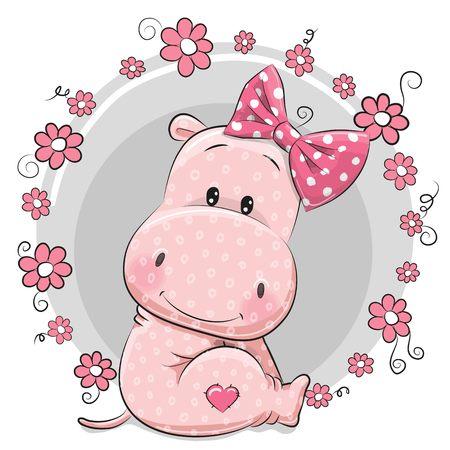 Ilustración de Greeting card cute Cartoon Hippo girl with flowers - Imagen libre de derechos