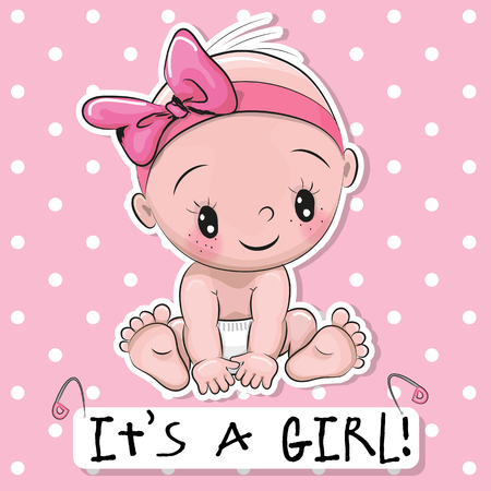 Foto de Greeting card it is a girl with baby on a pink dots background - Imagen libre de derechos