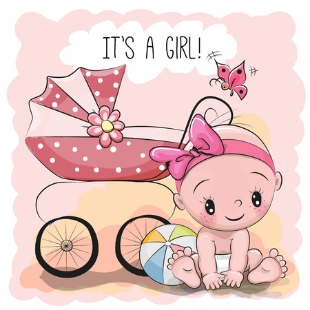 Photo pour Greeting card it is a girl with baby and carriage - image libre de droit