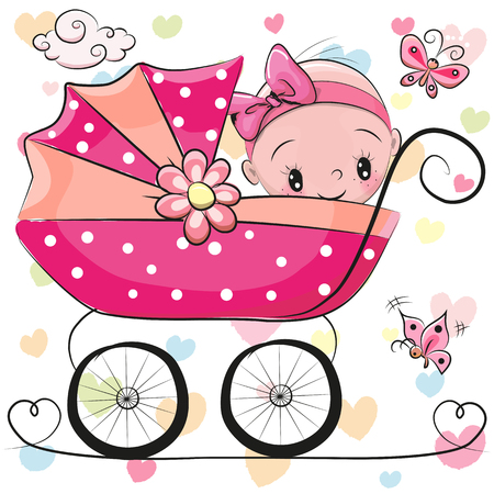 Foto de Cute Cartoon Baby girl is sitting on a carriage on a hearts background - Imagen libre de derechos