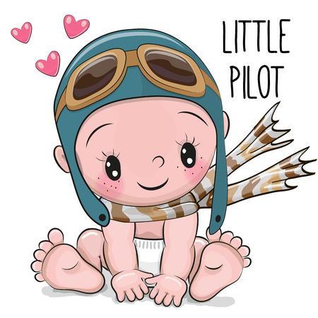 Foto de Cute Cartoon Baby boy in a pilot hat and scarf - Imagen libre de derechos