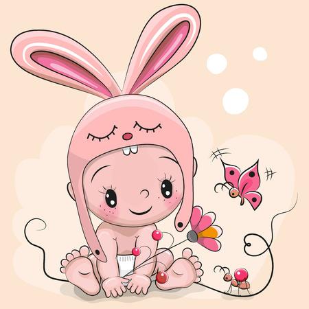 Foto de Cute Cartoon Baby in a rabbit hat and a butterfly - Imagen libre de derechos