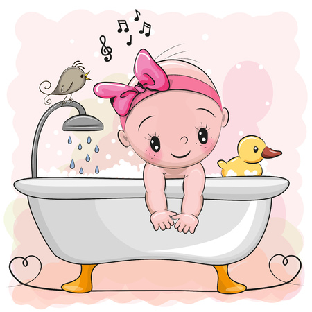 Cute cartoon baby Girl in the bathroom