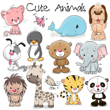 Illustration for Set of Cute Animals on a white background - Royalty Free Image