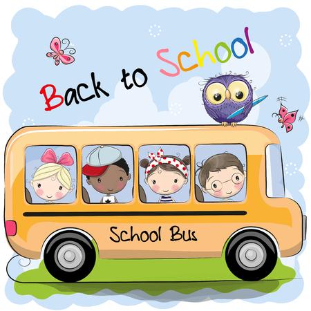 Illustration pour School bus and four cute cartoon kids and owl - image libre de droit