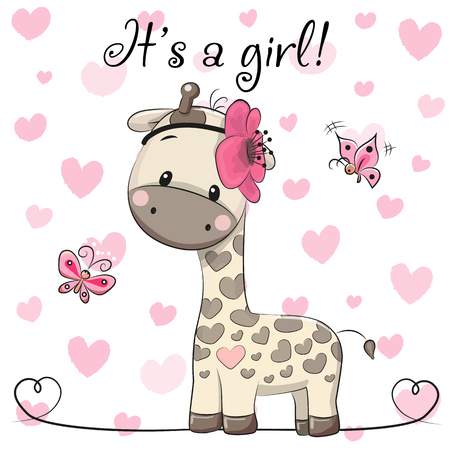 Illustration pour Baby Shower Greeting Card with cute Cartoon Giraffe girl - image libre de droit
