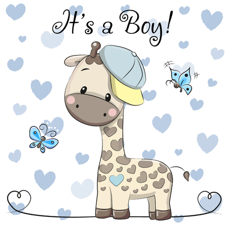 Illustration pour Baby Shower Greeting Card with cute Cartoon Giraffe boy - image libre de droit