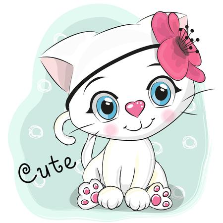 Photo pour Cute Cartoon White Kitten with a flower on a blue background - image libre de droit
