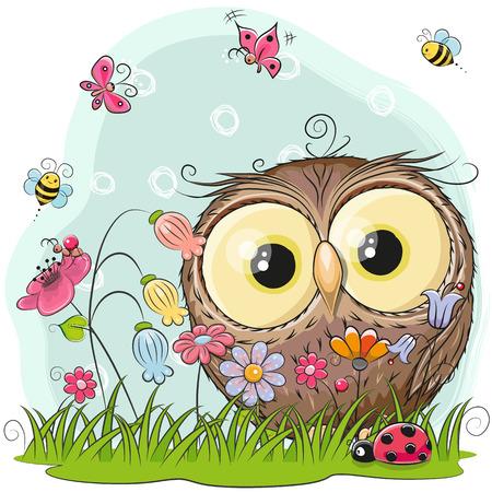 Ilustración de Cute Cartoon Owl on a meadow with flowers and butterflies - Imagen libre de derechos