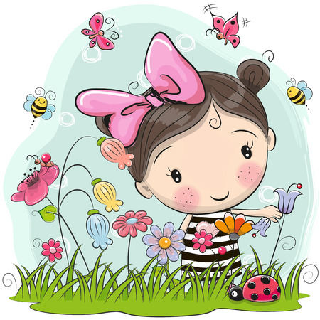 Illustration pour Cute Cartoon Girl on a meadow with flowers and butterflies - image libre de droit
