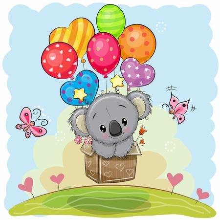 Ilustración de Cute Cartoon Koala in the box is flying on balloons - Imagen libre de derechos