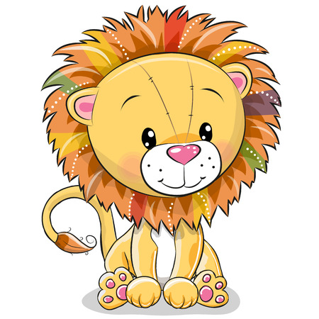 Illustration for Cute Cartoon lion isolated on a white background - Royalty Free Image