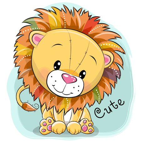 Ilustración de Cute cartoon lion on a blue background, vector illustration. - Imagen libre de derechos