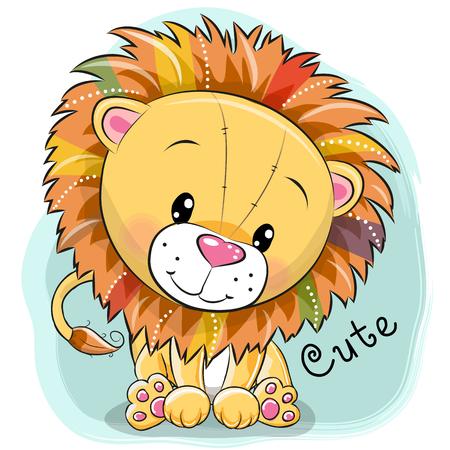 Cute cartoon lion on a blue background, vector illustration.