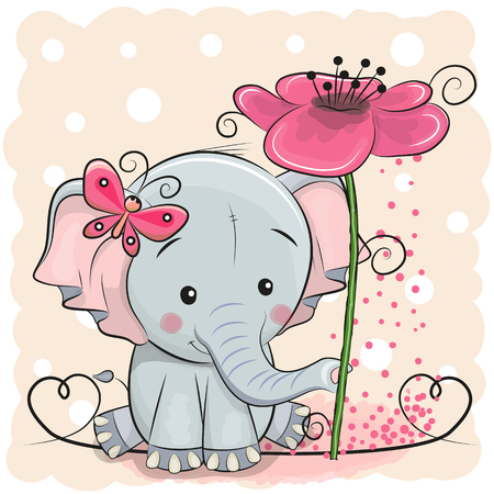 Ilustración de Greeting card elephant with flower on a pink background, vector illustration. - Imagen libre de derechos