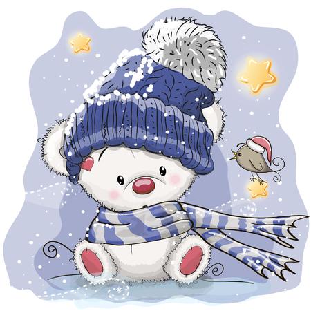 Illustration pour Greeting Christmas card with cartoon polar bear, vector illustration. - image libre de droit