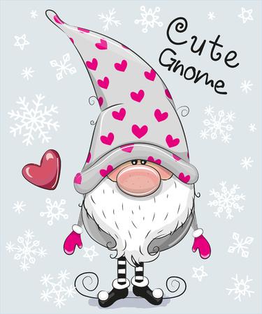 Illustration pour Greeting Christmas card Cute Cartoon Gnome on a blue background - image libre de droit