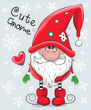 Ilustración de Greeting Christmas card Cute Cartoon Gnome on a blue background - Imagen libre de derechos