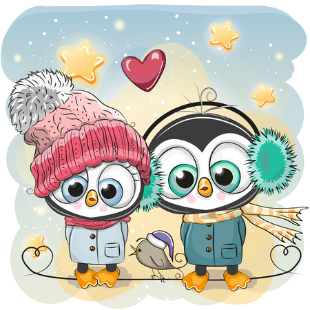 Illustration pour Cute winter illustration Penguin Boy and Girl in hats and coats. - image libre de droit