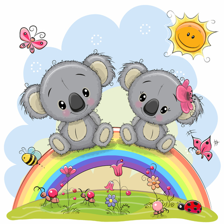Illustration pour Two Cute Cartoon Koalas are sitting on the rainbow - image libre de droit