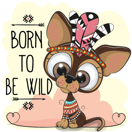 Photo pour Cute Cartoon tribal dog with big eyes on a white background - image libre de droit