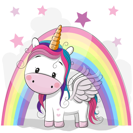 Illustration pour Cute Cartoon Unicorn and rainbow on a stars background - image libre de droit