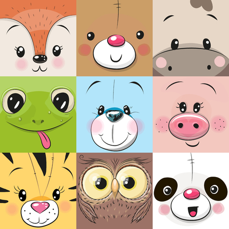 Illustration for Set of Cute Cratoon square animals faces - Royalty Free Image