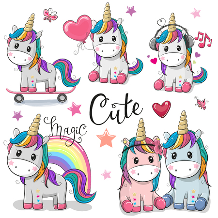 Illustration pour Set of Cute Cartoon Unicorns isolated on a white background - image libre de droit
