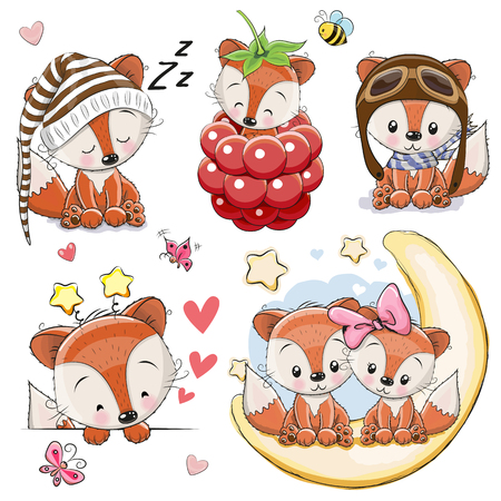 Illustration for Set of Cute Cartoon Foxes on a white background Vector illustration. - Royalty Free Image
