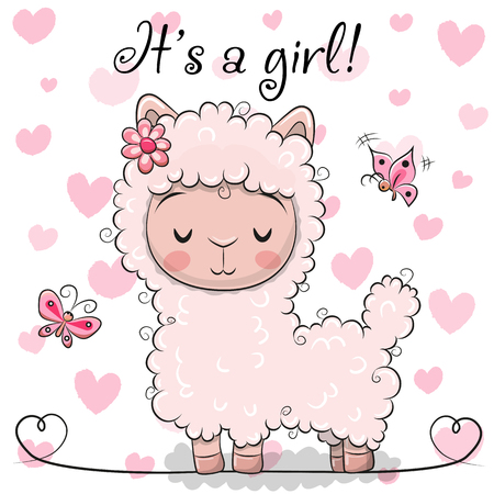Illustration for Baby Shower Greeting Card with Pink Alpaca girl - Royalty Free Image