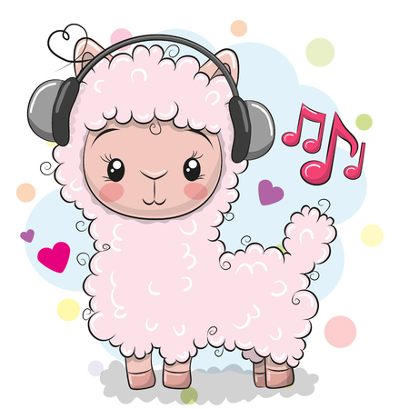 Ilustración de Cute Cartoon Alpaca with headphones on a white background - Imagen libre de derechos