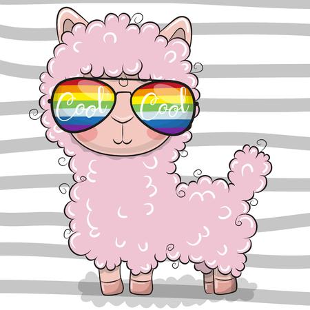 Illustration pour Cool Cartoon Cute Lama with sun glasses - image libre de droit