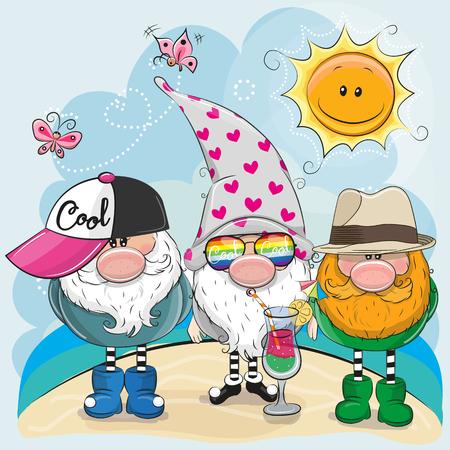 Illustration pour Three Gnomes in a cap on the beach - image libre de droit