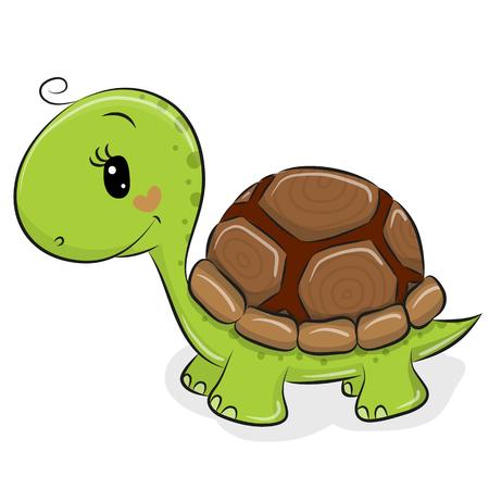 Illustration pour Cute Cartoon Turtle isolated on a white background - image libre de droit