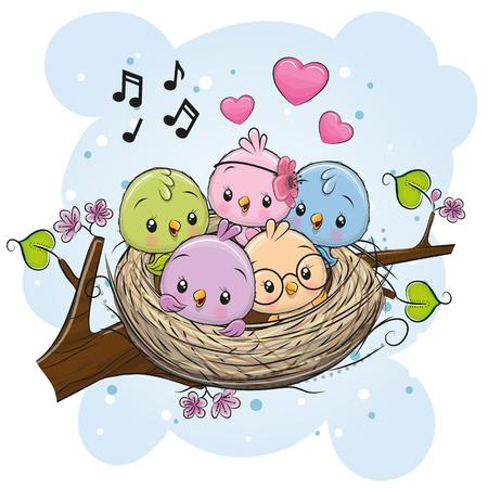 Ilustración de Cute Cartoon Birds in a nest on a branch - Imagen libre de derechos