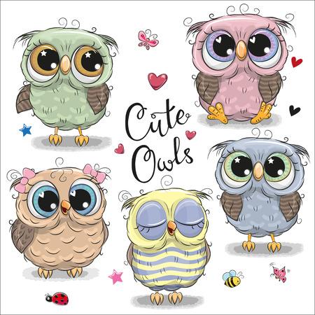 Ilustración de Set of cute cartoon owls on a white background - Imagen libre de derechos