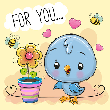 Illustration pour Greeting card cute cartoon Bird with flower on orange background - image libre de droit
