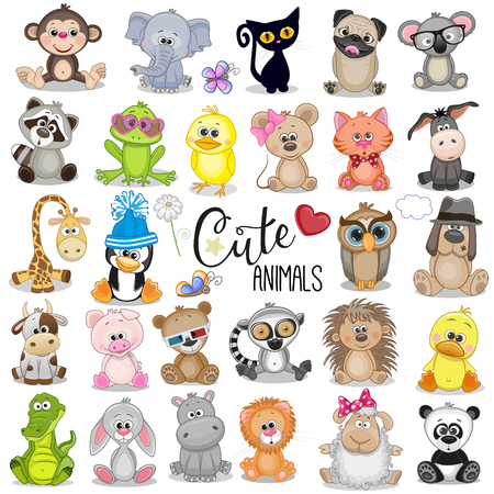 Illustration pour Set of Cute Cartoon Animals on a white background - image libre de droit