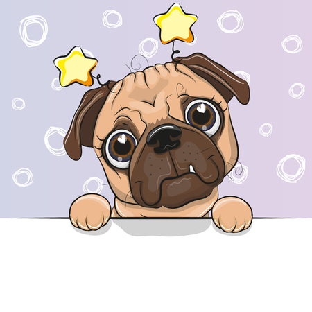 Photo pour Greeting card cute Cartoon Pug Dog on a blue background - image libre de droit