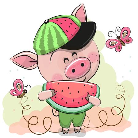 Foto de Cute Cartoon Pig in a cap with watermelon - Imagen libre de derechos