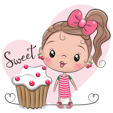 Illustration pour Greeting card Cute Cartoon Girl with cake - image libre de droit